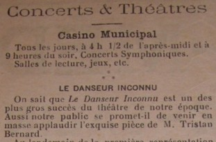 Concerts et Théâtres, Biarritz Thermal n°936, 1er janvier 1911