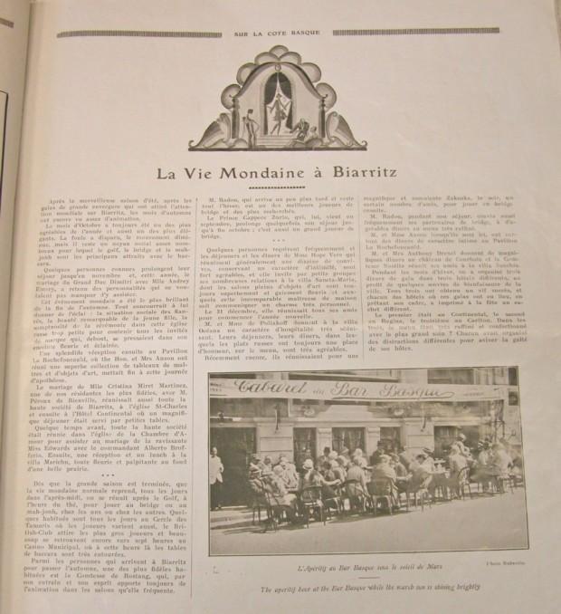 Biarritz illustré, page mondaine
