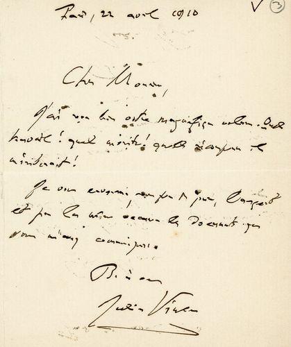 Lettre de Julien Vinson