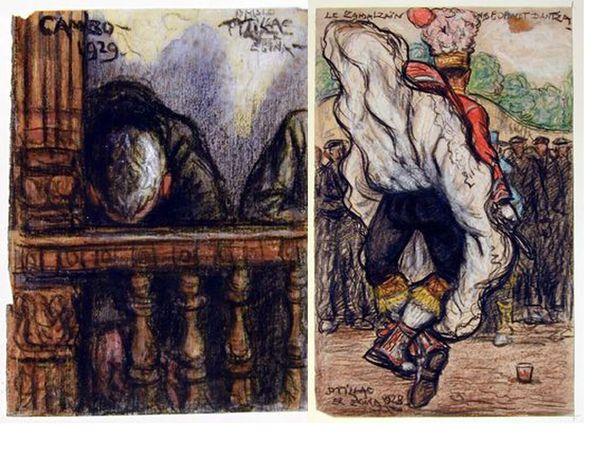 Cambo 1929, vieil homme à l'église de Saint-Laurent Inv.66.25.70 - Zamalzain godalet dantza, 1928. Inv 63.9.17