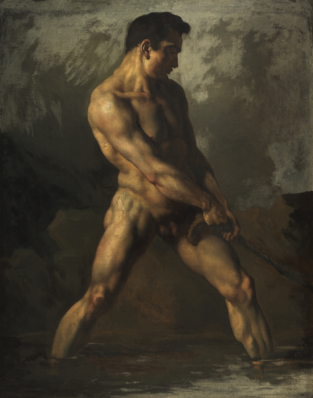 Théodore GÉRICAULT (1791-1824) Académie d'homme debout, tirant sur une corde, vers 1812-1817