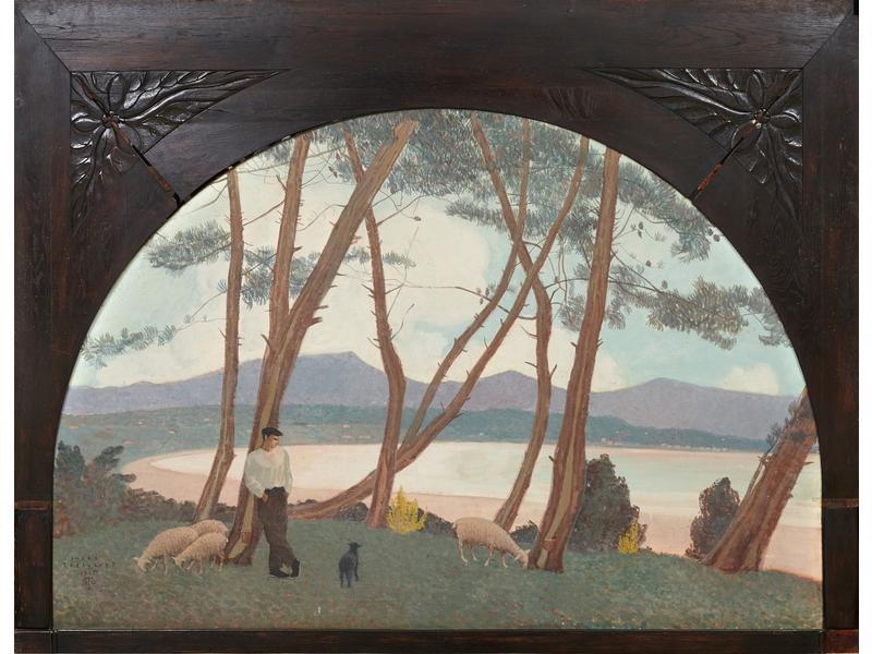 TREBUCHET André  L'Heure calme ou Berger basque devant la baie, huile sur toile, 1925, 132,5x196 (cadre 166x217,5). Coll. Particulière