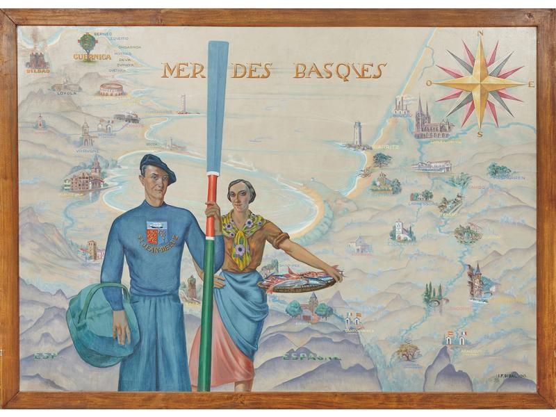BIBAL Ignace-François La Mer des Basques, huile sur toile, 1943, 192x268. Coll. Particulière